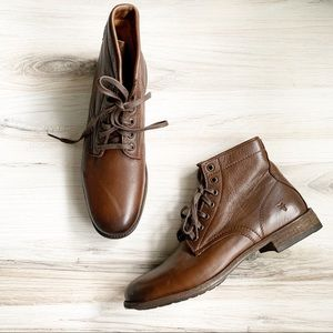 Frye Tyler Leather Lace Up Boot Cognac